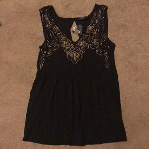 Victoria's Secret Black Tank with Gold